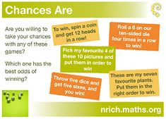 Chances Are Poster icon Maths Resources, Math Activities, Math Projects, Math Problems, Mathematics, November, Teacher, Posters, Education