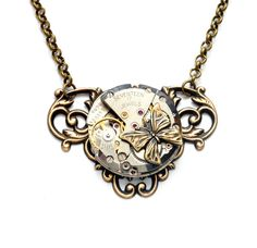 Steampunk Necklace BUTTERFLY Steampunk by VictorianCuriosities, $44.00