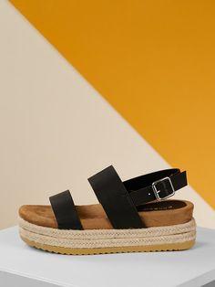 a226cbf3973523 Jute Wrapped Flatform Double Band Buckled Sandals -SHEIN(SHEINSIDE) Jute