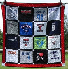 T-shirt Quilt...I so need to do this with Kelsey's 100+ tshirts!