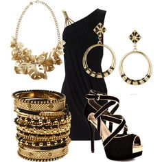 Black and Gold by dori-tyson on Polyvore featuring Jane Norman, GUESS, Amrita Singh, Tatty Devine and Noir Jewelry