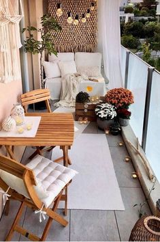 Apartment Balcony Decorating, Apartment Balconies, Apartment Living, Decorating Bathrooms, Apartments, Living Room, Small Balcony Decor, Small Patio, Fall Home Decor