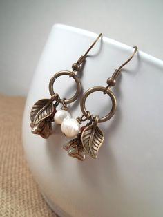 Antique Bronze Freshwater Pearl Czech Flower Leaf Cluster Charm Dangle Earrings by CarmenRVT on Etsy