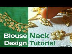 Hand Embroidery Blouse Neck design tutorial | Aari work | maggum work - YouTube