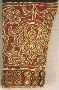 Detail from the silk dalmatic (1130-40) associated with Roger II of Palermo via Grizel's Bead Pages