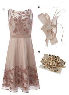 gray Dresses to Wear to a Wedding as a Guest | Pavlova Dress 2. Victoria Fascinator 3. Meryl Flower Cuff