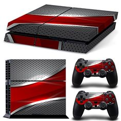 Playstation 4 Console Skin Decal Sticker Red and Chrome + 2 Controller Skins Set Playstation 4 Bundle, Playstation 4 Console, Playstation Games, Video Games Xbox, New Video Games, V Games, Geek Games, Playstation 4 Accessories, Ps4 Skins