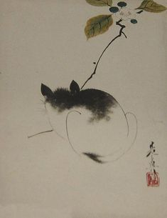 "Asian Cat with Chysanthium Flowers Korean Canvas Art Print 10X8/"""