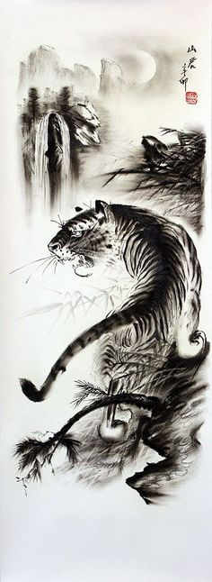Chinese Tiger Art | Black & White Tiger Drawing - with wolf silhouette and hawk or bird in flight for tattoo