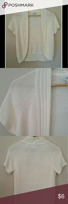 "Sweater Short sleeved off white shrug type sweater - ribbed open front - 100% acrylic fabric - chest measures 17"" - length measures 22"" - sleeve ends measure 5 1/2"" with some stretch to them - Size S croft & barrow Sweaters"
