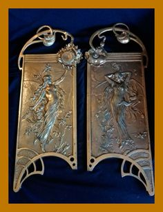 Online veilinghuis Catawiki: A pair of large wall plaques - Art Nouveau Jugendstil - semi-nude nymph