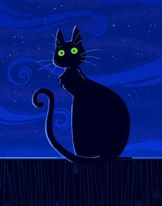 Cat Night by yllya.deviantart.com on @deviantART