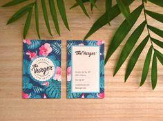 Nuestras tarjetas corporativas The Vurger. Impresas en offset en precioso papel fieltro. Diseño gráfico Marian Cervera. #Vegan