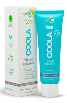#Nordstrom #COOLA COOLA® Suncare 'Cucumber' Face Mineral Sunscreen SPF 30 Matte Finish $36.00  Naturally shield and nourish your skin with an antioxidant-infused, mineral matte SPF 30 sunscreen by COOLA Suncare. The light, natural, cucumber-scented product keeps your skin safe from harsh environmental factors while giving your complexion an immediate line-smoothing finish. It's ideal for those with normal or oily skin.Will work under makeup! $36