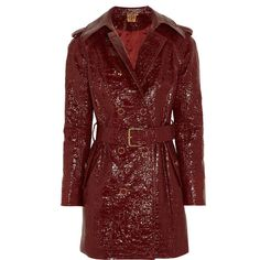 Tory Burch Darlene cracked glossed-cotton trench coat ($410) ❤ liked on Polyvore featuring outerwear, coats, burgundy, burgundy trench coat, burgundy coat, trench coat, waist belt and red trench coats