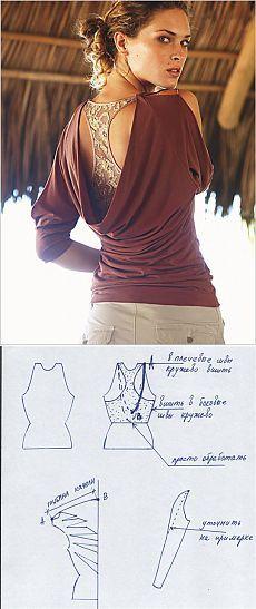 Блузка-качель с кружевной ставкой (выкройка) / Простые выкройки / ВТОРАЯ УЛИЦА