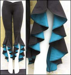 Tribal Belly Dance Hula Hoop Ruffle Ruffle Pants Black with Peacock Teal Bamboo Detail