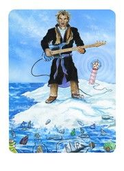 Live at the North Pole...Sting! (3 of Wands from the Snowland Deck) Art by Ron Boyer http://SnowlandDeck.com