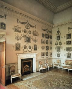 Print Room in Castletown House which was decorated by Lady Louisa and friends, following the fashion of the 1760s, with cut-outs of favourite images. From...  http://a-l-ancien-regime.tumblr.com/post/20867367653/a-fascinating-room-although-odd-by-todays