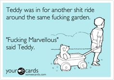 "Teddy was in for another shit ride around the same fucking garden. ""Fucking Marvellous"" said Teddy."