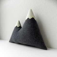 the+Peaks++grey+plush+wool+mountain+pillow+by+ThreeBadSeeds,+$58.00