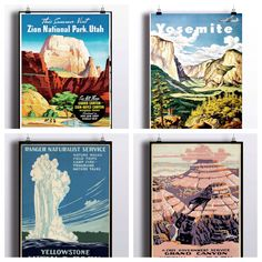 National Park Poster Set - Vintage Prints - Yosemite Print Grand Canyon Yellowstone National Park Zion National Park Wall Prints Travel by TheBlackVinyl on Etsy https://www.etsy.com/listing/267921864/national-park-poster-set-vintage-prints