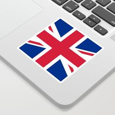 United Kingdom Flag UK British Patriotic Sticker by Eva Graphics - White -
