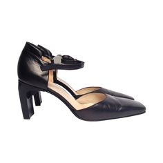 Chanel Black Leather Pumps Size 38 | See more vintage Shoes at https://www.1stdibs.com/fashion/accessories/shoes in 1stdibs