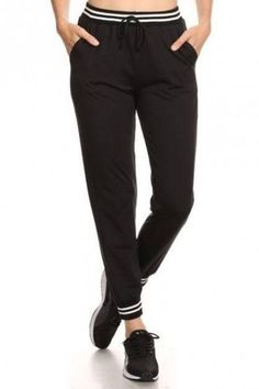 Soft Fabric Solid Jogger Pants with Striped Waist and Bottom Band