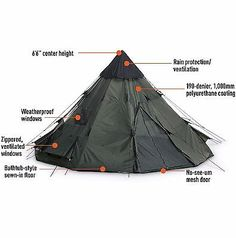 Guide Gear 10x10 Teepee Tent Camping Hiking Outdoor Family