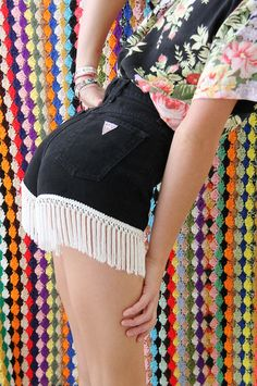 high waisted and fringed GUESS denim summer shorts by napkinitems, $50.00  - Holy crap cool