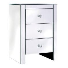 Venetian Plain Glass 3 drawer Bedside
