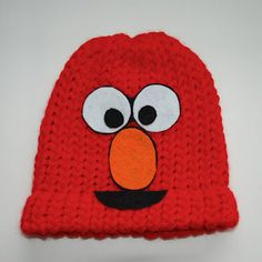 ELMO hat - knitted beanie hat!  All sizes from www.bytinadesign.com