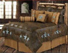 Turquoise Triple Star Western 5 Pc Twin Comforter Bedding Set-Perfect for Cabin! #RusticPrimitive
