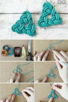Make handmade earrings using a surprising range of low cost and no cost supplies using these free craft tutorials and projects. Make handmade earrings using a surprising range of low cost and no cost supplies using these free craft tutorials and projects. Jewelry Knots, Macrame Jewelry, Jewelry Crafts, Jewelry Ideas, Agate Jewelry, Beaded Crafts, Macrame Knots, Diy Earrings Tutorial, Earrings Handmade