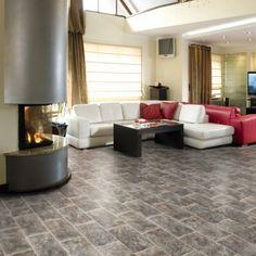 594ER Stone Effect Anti Slip Vinyl Flooring- Vinyl Flooring UK Vinyl Flooring Uk, Stone Flooring, Kitchen Shades, Flooring Options, Rustic Charm, 6 Years, Plank, Brown And Grey, Tile Floor