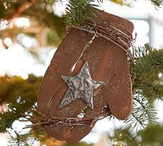 Mitten with Star Ornament #potterybarn