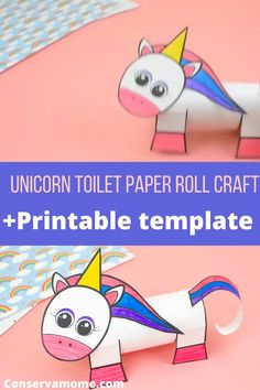 This fun Unicorn toilet paper roll craft is a fun idea for your little one. It comes with a printable template so all you need is markers glue and scissors, print,color and draw your own toilet paper roll unicorn craft. #unicorncraft #toiletpaperrollcraft