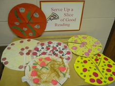 """(BOOK REPORT) """"Serve Up a Slice of Good Reading"""" is a fun title for a pizza book report project and reading bulletin board display. Underneath each slice of pizza, students can write about a part of their stories. Reading Bulletin Boards, Bulletin Board Display, 2nd Grade Writing, 2nd Grade Reading, Book Clubs, Book Club Books, Spring Activities, Classroom Activities, Too Cool For School"""