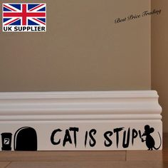 Cat Is Stupid Mouse Mice Hole - Vinyl Wall Decal Sticker Home Decor Kids Bedroom in Maison, Décoration intérieure, Décorations murales, stickers | eBay