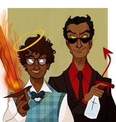 clairedraws:  [crashes into your living room] RICHARD AYOADE!AZIRAPHALE [accidentally breaks your fine porcelain] SENDHIL RAMAMURTHY!CROWLEY [tries to fix everything with duct tape] WHY CAN'T I COME UP WITH FANCASTS LIKE THESE ON MY OWN