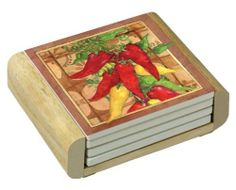 CounterArt South West Peppers Design Square Absorbent Coasters in Wooden Holder, Set of 4 by CounterArt, http://www.amazon.com/dp/B004DAJ23E/ref=cm_sw_r_pi_dp_jgVxrb1K6XRP3
