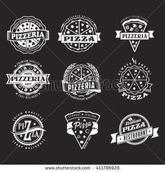 stock-vector-vector-logo-set-of-vintage-chalk-food-labels-templates-for-pizza-restaurant-on-chalkboard-background-411786928.jpg (450×470)