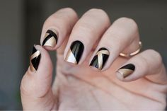 45 easy new years eve nails designs and ideas 2016 Em Nails, Matte Nails, Black Nails, Acrylic Nails, Black Nail Designs, Pretty Nail Designs, Pretty Nail Colors, Pretty Nails, New Years Eve Nails