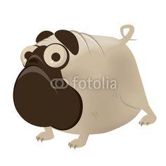 Funny Cartoon Pug.