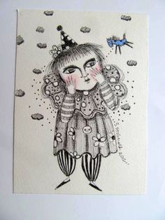 pencil drawings happy clown pony ink