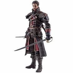 After a botched mission destroys an entire city, former Assassin Shay Cormac turns Templar in order to enact his revenge in Assassin's Creed Rogue! During the Seven Years' War Shay Cormac was known to be a skilled sea-faring captain, an excellent swordsman and an efficient killer with dual wielded weapons. The Assassin's Creed Series 4 Shay Cormac Action Figure comes equipped with a pistol, air rifle, and sword! Measures approximately 6-inches tall.