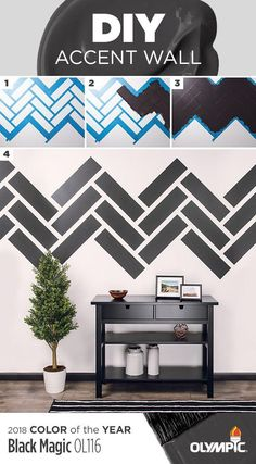 Try this DIY accent wall with our 2018 Color of the Year, Black Magic! Choose a wall pattern Using painters tape, create a stencil/outline of the pattern Paint each section & allow paint to dry Remove tape & enjoy your new accent wall. Source by jabulluck Diy Wall Painting, House Painting, Painting Doors, Interior Painting, Painting Tips, Painting Techniques, Deco Design, Wall Design, Wall Paint Patterns