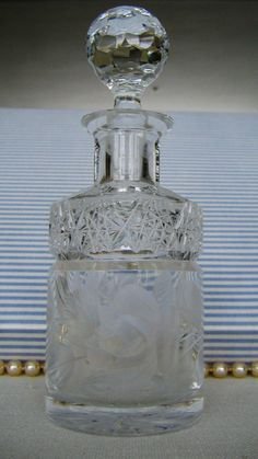 AMERICAN BRILLIANT Cut Glass PERIOD Antique Clear Cut-Crystal Vintage Cologne / Perfume / Scent  Bottle Decanter by pegi16, $97.99