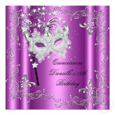 Pink Quinceanera 15th Birthday Party Masquerade Personalized Announcement